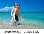happy young loving couple bride ...   Shutterstock . vector #225221137