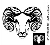 Ram head logo or icon in black and white. This is vector illustration ideal for a mascot and T-shirt graphic. Inversion version included.