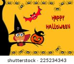 cute halloween card. cute owl... | Shutterstock .eps vector #225234343
