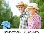 father and daughter sitting at... | Shutterstock . vector #225234397