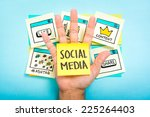 social media on hand with blue