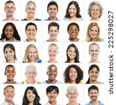 large group of multi ethnic... | Shutterstock . vector #225298027
