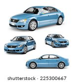image of a blue car on... | Shutterstock . vector #225300667