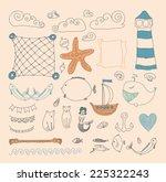 set cute retro sea objects... | Shutterstock .eps vector #225322243