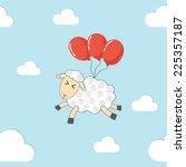 seamless pattern   flying sheep.... | Shutterstock .eps vector #225357187