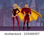 superhero couple 2  male and... | Shutterstock .eps vector #225400357