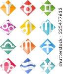 colorful cubist zodiac | Shutterstock .eps vector #225477613