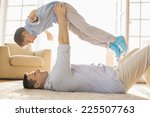 side view of playful father... | Shutterstock . vector #225507763
