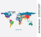 world map with borders... | Shutterstock .eps vector #225521107
