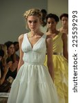 Small photo of NEW YORK, NY - OCTOBER 09: Models walk the runway at the Della Giovanna Bridal Runway Show during Fall 2015 Bridal Collection at the Alchemical on October 09, 2014 in New York City.