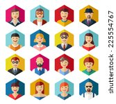 flat avatar icons faces people... | Shutterstock .eps vector #225554767