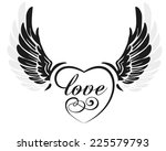 black wings with heart and sign ... | Shutterstock .eps vector #225579793