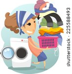 laundry woman daily life chores ... | Shutterstock .eps vector #225588493