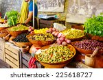 marinated garlic and olives on...   Shutterstock . vector #225618727