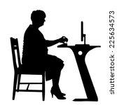 vector silhouette of woman in... | Shutterstock .eps vector #225634573