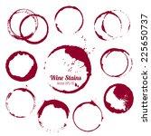 vector set of 10 round ink wine ... | Shutterstock .eps vector #225650737