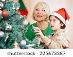 boy and grandma hanging... | Shutterstock . vector #225673387