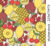 seamless fruit pattern of... | Shutterstock .eps vector #225675973
