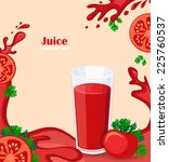 tomato juice with tomato slices ... | Shutterstock .eps vector #225760537
