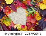 Heart In Autumn Leaves On The...