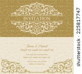 baroque invitation card in old... | Shutterstock .eps vector #225817747