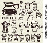 set of hand drawn coffee doodles | Shutterstock .eps vector #225904933