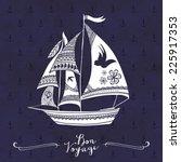 creative hand drawn boat... | Shutterstock .eps vector #225917353
