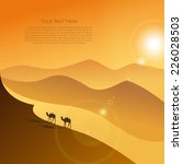 two camels in the evening... | Shutterstock .eps vector #226028503
