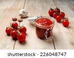 jar of tomato sauce  freshly...   Shutterstock . vector #226048747