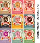 set of nine donuts vector   Shutterstock .eps vector #226058473