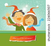 vector merry christmas greeting ... | Shutterstock .eps vector #226066507
