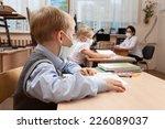 school children in medical face ... | Shutterstock . vector #226089037