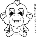 a happy cartoon baby monkey
