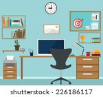 workspace interior with office... | Shutterstock . vector #226186117