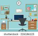 workspace interior with office... | Shutterstock .eps vector #226186123