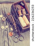 vintage background with sewing... | Shutterstock . vector #226236253