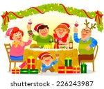 happy family having a christmas ... | Shutterstock .eps vector #226243987