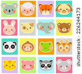 collection of cute animals over ... | Shutterstock . vector #226244173