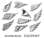 set of heraldic vector wings in ... | Shutterstock .eps vector #226259467