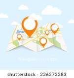 navigation map with red pin... | Shutterstock .eps vector #226272283