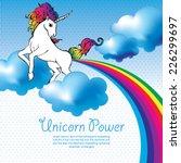 unicorn power with a rainbow...   Shutterstock .eps vector #226299697