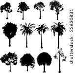 collection of silhouette trees...   Shutterstock . vector #22630831