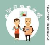 vendor serves customers... | Shutterstock .eps vector #226329457