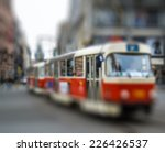 red tram  intentional blurred... | Shutterstock . vector #226426537