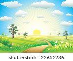 sunny meadow landscape of... | Shutterstock .eps vector #22652236