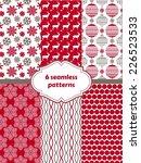 set of christmas seamless... | Shutterstock .eps vector #226523533
