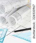 blueprint rolls  ruler and... | Shutterstock . vector #226533967