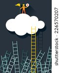 success climber with ladder to... | Shutterstock .eps vector #226570207