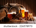 Beer Barrel With Beer Glasses...