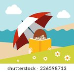 girl reading a book on the... | Shutterstock .eps vector #226598713